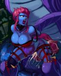 1girl aka6 anal arched_back arms_behind_back bare_shoulders baron_nashor bent_over bestiality big_breasts blue_skin bound choker cleavage cum cum_explosion cum_in_ass cum_in_pussy double_penetration evelynn green_eyes huge_penis large_insertion league_of_legends looking_back monster navel open_mouth pink_hair screaming sex shiny shiny_skin short_hair size_difference skindentation spread_legs stomach_bulge sweat thick_thighs thighs uncensored vaginal