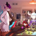 1girl 2017 anthro antlers areola blush breasts cervine closed_eyes diphallism dragon dungeons_&_dragons frottage furry group hair herm herm/male high_res horn inside intersex intersex/male long_hair lying lysergide male male_penetrating mammal membranous_wings moose multi_penis multicolored_hair nipples on_back open_mouth penetration penis purple_hair pussy red_panda sex short_hair vaginal vaginal_penetration wings