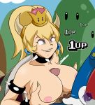 absurd_res absurd_res bare_shoulders big_breasts big_breasts big_breasts biting_lip blue_earrings bowser bowsette choker cleavage clothed_male_nude_female crown cum cumshot fangs frankaraya green_lipstick green_nails green_shell grin horn horns light_skin looking_at_another looking_at_partner looking_up mario mario_bros orgasm outside outside paizuri paizuri pink_nipples pubic_hair sharp_teeth smile spiked_collar spiked_shell super_crown super_mario_bros.