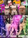 ass big_ass big_breasts bikini bleach breasts cleavage dat_ass ecchi-enzo_(artist) female ikumi_unagiya looking_at_viewer looking_back milf money nelliel_tu_odelschwanck nemu_kurotsuchi rtenzo_(artist) stripper stripper_pole swimsuit tease weapon whip wink