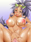 1girl adahcm areola big_breasts breast_grab breasts censor_bar censored collarbone cum cum_on_body cum_on_breasts cum_on_upper_body dark_skin gradient_background gym_leader iris iris_(pokemon) long_hair lotion navel nipples nude open_mouth pokemon pokemon_(game) pokemon_bw pokemon_bw2 purple_hair pussy pussy_juice red_eyes shiny shiny_skin spread_legs spread_pussy sweatdrop thighs