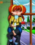 april_o'neil blush cesaru33 dual_persona kissing leg_grab selfcest teenage_mutant_ninja_turtles tmnt_2012 window yuri
