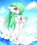 1girl :p areola beach blush breasts gardevoir green_hair groin inverted_nipples licking_lips long_hair looking_at_viewer naughty_face navel nipples no_humans pokemon pokemon_(creature) puffy_areolae red_eyes sana!rpg shiny shiny_skin sling_bikini standing text thighs tongue tongue_out wedgie