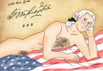 america american_flag bed blush chest_hair flag george_washington history looking_at_viewer male nude penis pinup pubic_hair what
