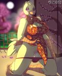1girl 1girl anthro avian big_breasts bird blush breasts chica_(fnaf) chicken chinese_clothing chinese_dress cleavage clothed clothing dress five_nights_at_freddy's furry high_res keyhole_turtleneck non-mammal_breasts panties presenting pussy pussy_juice spunkubus sweater underwear video_games year_of_the_rooster
