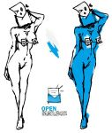 1girl anonmouse blue_skin breasts email envelope inanimate looking_at_viewer mail mascot mascots navel nipple_tassels openmailbox personification sketch software white_background
