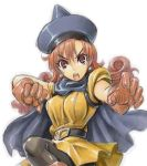 1girl alena_(dq4) amania_orz breasts cape curly_hair dragon_quest dragon_quest_iv earrings hat long_hair looking_at_viewer open_mouth shiny shiny_clothes white_background