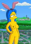 breasts hand_on_hip marge_simpson nipples nude playboy shaved_pussy the_simpsons