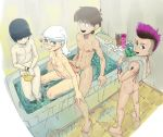 1girl 3boys abs alternative_age alternative_hairstyle ass bath bathing bathroom bathtub black_hair blush breasts brother brother_and_sister brown_hair clavicle completely_nude covering covering_crotch covering_nudity dyed_hair embarrassed erection faucet genderswap hair_over_eyes hand_on_another's_knee heart lincoln_loud looking_at_another looking_at_viewer looking_back lucy_loud luna_loud lynn_loud male multiple_boys muscle nipples nude ohnarev pale_skin partially_submerged penis pubic_hair puddle purple_hair rubber_duck shampoo shy siblings side_shave sister sitting small_breasts tattoo the_loud_house towel undercut water wet white_hair