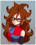 1girl android_21 artist_request brown_hair detached_sleeves dragon_ball dragon_ball_fighterz dragonball_z earrings glasses long_hair looking_at_viewer tagme upper_body