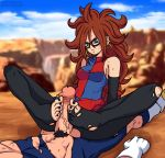 1boy 1girl android_21 bare_shoulders blue_eyes breasts brown_hair curly_hair detached_sleeves dragon_ball dragon_ball_fighterz earrings feet footjob furanh hetero high_res jewelry long_hair medium_breasts no_shoes pantyhose sitting solo_focus toeless_legwear toes torn_clothes torn_legwear uncensored vegeta