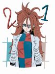 1girl android_21 artist_request brown_hair dragon_ball dragon_ball_fighterz dragonball_z earrings fanart glasses looking_at_viewer solo upper_body