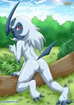 1girl absol anthro bbmbbf day looking_at_viewer nintendo nude pokemon pokepornlive presenting_pussy pussy video_games wink