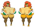 1girl 1girl 2017 anthro big_breasts bowser breasts collar cute dragon ear_piercing fire genderswap horn huge_breasts hyper koopa looking_at_viewer mushroom nintendo nipple_piercing nipples piercing pose pussy red_eyes scalie shirt simple_background smile spikes spread_legs spreading super_mario_bros. the_con torn_clothing white_background