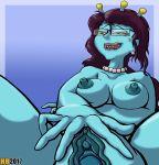 1girl alien blue_skin breasts hentai_boy lip_bite masturbation nude pussy rick_and_morty spread_pussy unity