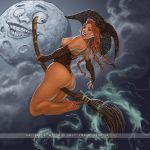 1_girl ass breasts broom broomstick fingerless_gloves flying fransmensink_(artist) freckles full_moon gloves halloween hat lipstick long_hair looking_back moon nipples orange_hair sexy smile topless twin_tails witch witch_hat