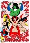 6girls black_hair boots breasts brown_hair cape comic flying funny gloves green_hair lipstick long_hair mad marvel mask muscle mutant nipples nude ponytail red_lipstick sexy she-hulk skirt smile spider-woman tinker_bell wanda_maximoff wasp wings wink