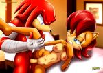 1girl 1male knuckles_the_echidna mobius_unleashed palcomix sally_acorn