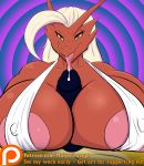 1girl between_breasts big_breasts big_penis bikini blaziken breasts cleavage clothed clothing cum first_person_view invalid_tag makarimorph mature_female misskari nintendo oral paizuri penis pokémon pokémon_(species) precum sex swimsuit tongue video_games