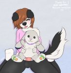 anthro black_nose blush brown_hair canine clothed clothing collar cute dog erection fur furry girly grey_fur hair heart husky lagomorph mammal masturbation pawpads penis pink_nose plushie plushophilia pussy rabbit testicles woofyrainshadow