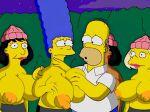 holding_breast homer_simpson huge_breasts huge_nipples marge_simpson the_simpsons topless