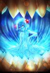 1girl blue_hair blue_skin blush hair_ornament krabby_(artist) lens_flare monster_girl original patreon patreon_reward pink_eyes pumpkin skeleton slime_girl small_breasts surprise