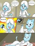 1girl 1girl anthro big_breasts blue_fur breasts cartoon_network cat clothing comic dialogue english_text feline fur furry high_res mammal mature_female milf nicole_watterson open_mouth parent robe scrabble007 text the_amazing_world_of_gumball towel