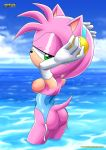 1girl amy_rose areola ass bottomless bustier cloud elbow_gloves exposed_breasts furry green_eyes hairband half-closed_eyes hand_on_head hedgehog looking_at_viewer mobius_unleashed nimue nipples palcomix partially_clothed sega swimsuit