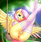 1girl 1girl 2017 absurd_res anthro anthrofied areola ass blue_eyes bra clothing cutie_mark dock equine feathered_wings feathers fluttershy_(mlp) friendship_is_magic furry hair happy high_res legwear looking_at_viewer mammal my_little_pony open_mouth outside pegasus pink_hair pussy smile swing twistedscarlett60 underwear wide_hips wings