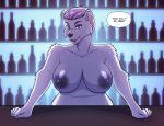 1girl 1girl 2017 anthro bear breasts colored_nails conditional_dnp dialogue english_text eyeshadow furry kadath makeup mammal nipples polar_bear purple_eyes text