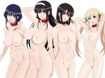 4girls armpits arms_behind_head artist_cg bangs big_breasts black_hair black_ribbon blonde blue_eyes blush breasts brown_eyes brown_hair clavicle closed_mouth collar completely_nude cottage ears hair_twirling hairband high_resolution hip_bones hyoudou_michiru kasumigaoka_utaha katou_megumi long_hair looking_at_viewer multiple_girls navel nipples nude open_mouth paipan pussy red_collar ribbon saenai_heroine_no_sodatekata sawamura_spencer_eriri short_hair simple_background small_breasts smile standing teeth tied_hair twin_tails v white_background white_hair_ornament white_hairband
