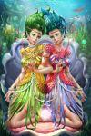 2_girls blue_hair green_hair smutstone twins underwater