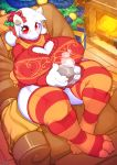 0r0ch1 1girl anthro blush boss_monster caprine christmas christmas_tree clothed clothing fire fireplace fur gift goat high_res holidays horn legwear long_ears looking_at_viewer mammal milf overweight overweight_female parent red_eyes sitting smile socks striped_legwear stripes toriel tree undertale video_games white_fur