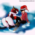 artist_name ass christmas christmas_hat heart hekapoo marco_diaz motion_lines open_fly penis_out poking santa_hat star_vs_the_forces_of_evil web_address
