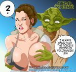 big_breasts breast_out_of_clothes breasts empire_strikes_back from_behind princess_leia_organa star_wars super_melons taken_from_behind yoda