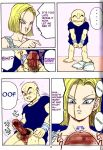 android_18 ass breasts censored_penis comic dragon_ball dragon_ball_z full_color krillin leotard masturbation nipples pussy shoes spread_pussy sweating