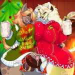 amber_eyes animal_humanoid anthro blue_eyes boon_digges cat_humanoid christmas clothing cum dickgirl dickgirl/dickgirl duo feline frottage furry hair hayden(solfies) heart holidays humanoid hyena intersex intersex/intersex mammal nite open_mouth penis red_hair sex signature testicles