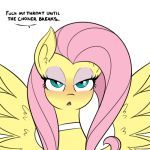 1girl 1girl 2017 blush dirty_talk english_text equine eyeshadow fluttershy_(mlp) friendship_is_magic hair half-closed_eyes long_hair looking_at_viewer makeup mammal my_little_pony open_mouth pegasus pink_hair reiduran simple_background text white_background wings