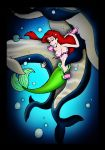 bestiality blue_eyes bra cetacean closed_eyes disney exposed_breasts fellatio group_sex handjob mermaid oral princess_ariel red_hair sex the_little_mermaid vaginal vaginal_penetration