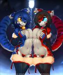<3 1girl 2018 5_fingers anthro bell big_breasts big_eyes black_hair blue_eyes blue_fur blue_hair blue_stripes breast_squish breasts breasts_frottage cherry_(macmegagerc) cleavage clothed clothing collar covered_nipples dark_background duo ear_piercing eye_contact felicia_(tailsrulz) feline fur furry glowing glowing_eyes grin hair hair_over_eye hand_on_butt heart_necklace high_res highlights jewelry legwear macmegagerc mammal mostly_nude navel necklace orange_eyes outside panties piercing red_fur red_highlights red_stripes simple_background smile snow standing stockings street_lamp stripes tiger underwear white_belly white_fur winter