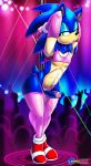 anthro clothed clothing crossdressing dancing ear_piercing erection footwear furry girly green_eyes hair hedgehog jewelry legwear makeup male mammal navel panties penis piercing pole pole_dancing precum red_shoes rip sega shadman shoes skimpy sonic_the_hedgehog sonnie_the_sluthog stockings stripper underwear video_games