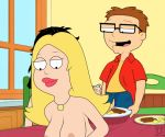 american_dad brother_and_sister chewing food francine_smith funny gif guido_l hayley_smith kitchen steve_smith table
