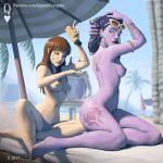 1:1_aspect_ratio 1girl 2_girls blizzard_entertainment d.va_(overwatch) multiple_girls nude outside overwatch queencomplex widowmaker_(overwatch)