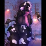 1girl 2018 5_fingers anthro ass biped black_fur black_hair black_tail blurred_background bottomless bovine breasts cattle cellphone chococosalo clothed clothing depth_of_field detailed_background digital_media_(artwork) disembodied_hand ear_piercing eyelashes facial_piercing fingerless_gloves fur furry gloves grey_clothing grey_topwear group hair high_res holding_object holding_phone horn leaning leaning_forward legwear long_hair looking_back mammal multicolored_fur multicolored_hair nipples nose_piercing nose_ring open_mouth outside phone piercing pillarbox presenting presenting_hindquarters purple_eyes purple_nipples pussy rear_view scarf septum_piercing signature smile solo_focus spots spotted_fur stockings street_lamp sweater tail_tuft teeth tree tuft two_tone_hair white_fur white_hair white_horn white_spots