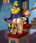 anal_hook ass bdsm bent_over bit_gag bobby_luv breasts crossover erect_nipples family_guy lois_griffin marge_simpson pussy shaved_pussy strap-on the_simpsons