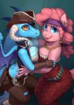 amber_eyes anthro audrarius bandanna blue_eyes breast_squish breasts cleavage clothed clothing cutlass dragon equine eye_patch eyewear friendship_is_magic furry horn horse jewelry mammal melee_weapon my_little_pony necklace piercing pinkie_pie_(mlp) pirate pirate_hat pony princess_ember_(mlp) sword weapon