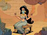 1girl akabur_(artist) aladdin_(series) black_hair breasts clothed disney female long_hair princess_jasmine see-through see-through_clothes sitting veil