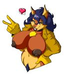 <3 1girl 1girl anthro big_breasts breasts canine carmelita_fox clothed clothing collar fox furry gloves lipstick looking_at_viewer lordstevie makeup mammal nipples open_shirt pubes sly_cooper_(series) smile video_games