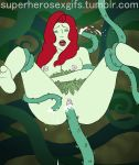 animated batman_(series) breasts cum cum_in_pussy cum_inside dc female gif mostly_nude no_bra no_panties plant poison_ivy pussy red_hair sex vaginal vaginal_penetration