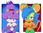 1girl anthro bigdon1992 blaze_the_cat breasts cat digital_media_(artwork) fan_(disambiguation) fan_character feline furry invalid_tag mammal mouse nipples nude nyurora nyuroraxbigdon pinup pose pussy rodent sega smile video_games